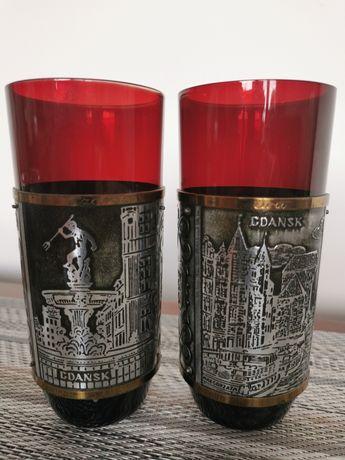 Szklanki gdańskie gdańsk gdański antyk szkło rubinowe