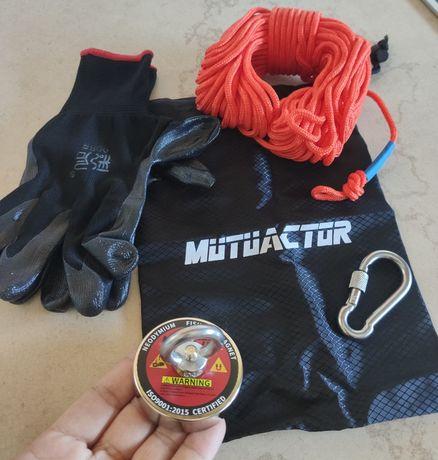 Pesca magnética kit íman neodimium + corda 20m + arnês + luvas + saco