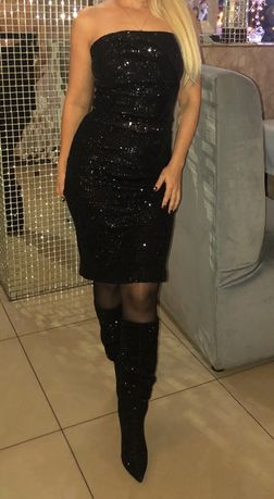 Платье чёрное стрейч с пайетками