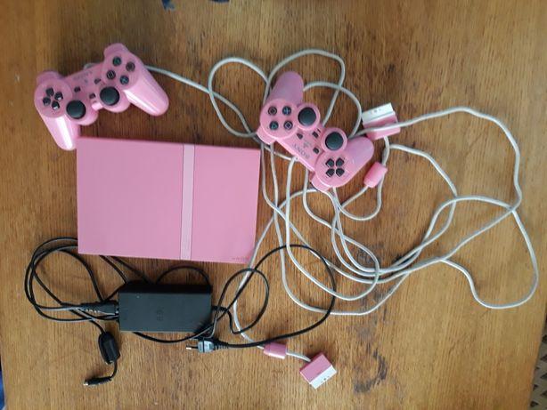 Ps2 różowy + gry