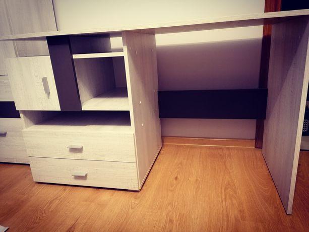 Biurko z dwoma szufladami i szafką