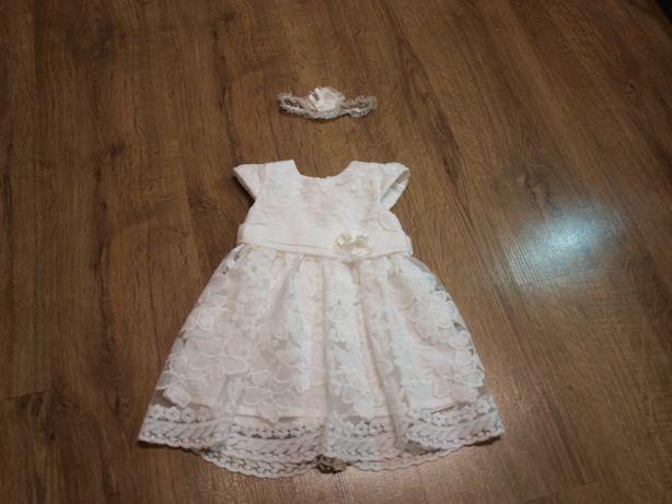 Sukienka Do Chrztu 62 Ecru + Opaska