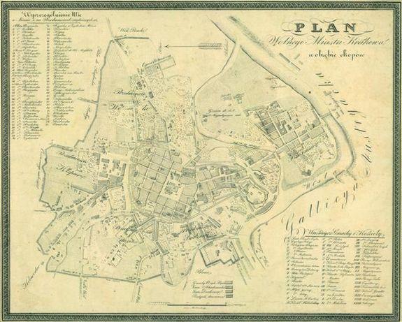 STARY KRAKÓW reprodukcje XIX w. planów miasta do wystroju wnętrza