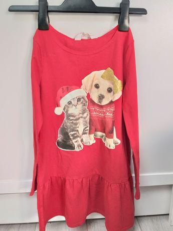 H&M czerwona świąteczna sukienka mikołaj 122 128