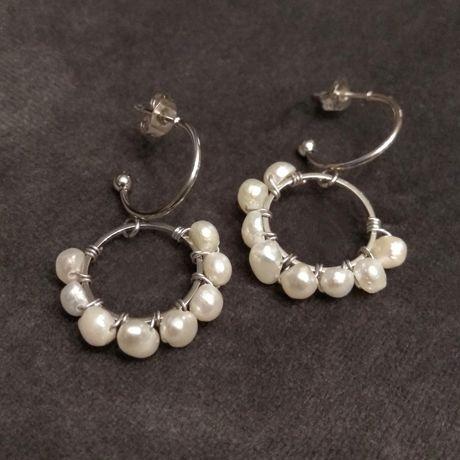 Kolczyki handmade - stal szlachetna i perły słodkowodne