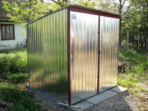 Garaż blaszany 2x3, spad w tył, blacha ocynk, brama dwuskrzydłowa