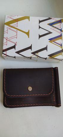 Кожаный кошелек портмоне зажим для денег