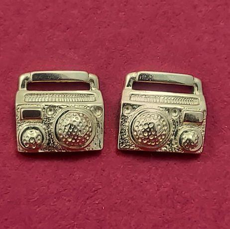 Złote kolczyki MUZYCZNE dla dziewczyny magnetofon głośnik