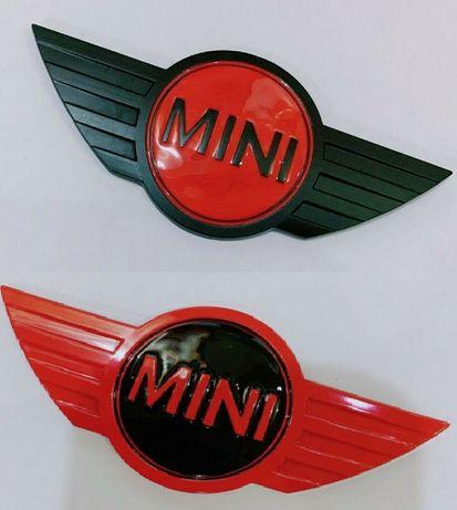 NOWY znaczek emblemat MINI czarny czerwony czerwone czarne