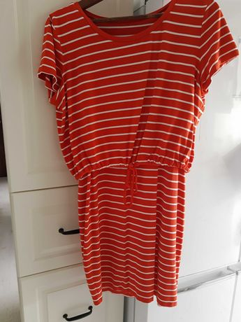 Sukienka do karmienia H&M Mama XS S czerwona w paski wiskoza