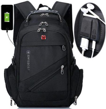 Рюкзак школьный городской SwissGear 8810 39л USB дождевик black Черный