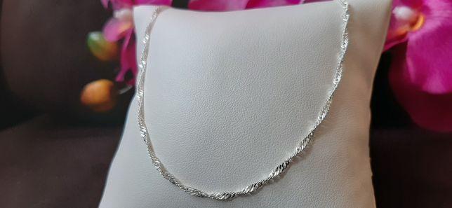 Srebrny damski łańcuszek Singapur 55 cm