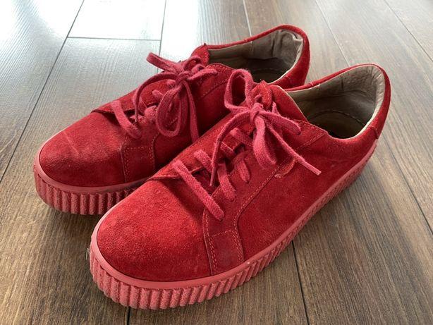 Buty Nessi, skórzane, czerwone, rozmiar 39