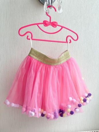 Юбка с помпонами Фатиновая юбка Розовая юбка