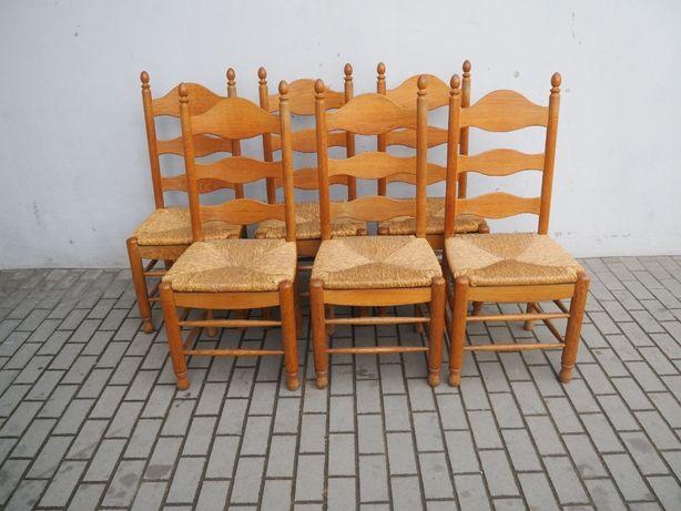 Zdobiony komplet 6 krzeseł dębowych 651