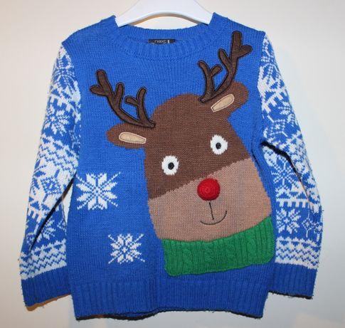 Świąteczny sweterek z reniferem Next r. 98