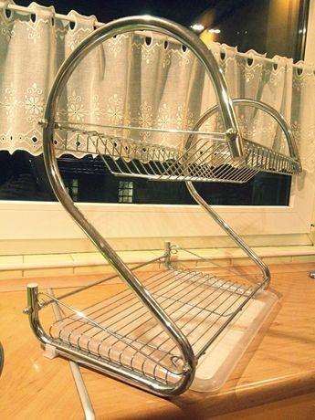 Dwupoziomowa srebrna suszarka na naczynia prawie nieuzywana