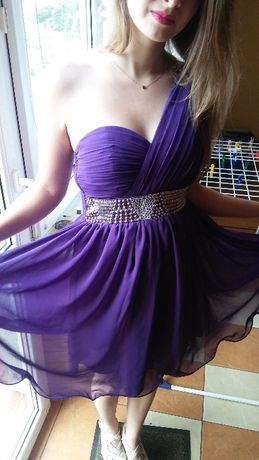 Sukienka New Look rozm. S/36 kolor fioletowy i srebrny na jedno ramię