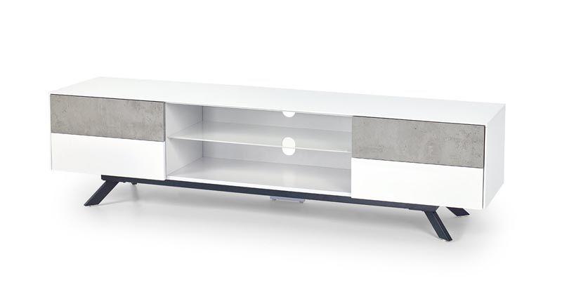 STONNO RTV1 / STOLIK RTV / biały / beton / 180/42/47 cm