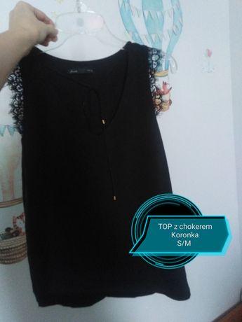 Damska czarna bluzka z chokerem koronka s /M