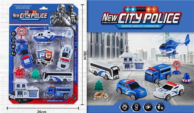 Игровой набор четыре машины, вертолет полицейский с аксессуарами