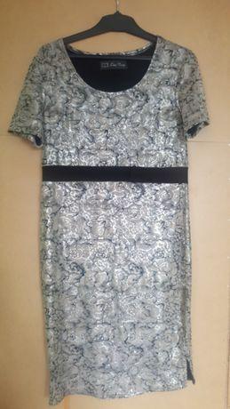 Sukienka Lian Long, rozmiar 42, błyszcząca beżowa