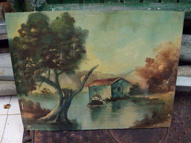 lote de quadros decorativos óleo antigos