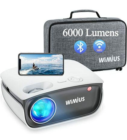 Projetor led 6000 lumens+WiFi+bluetooth+Mala de transporte/1080P