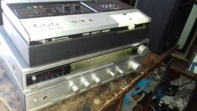 Aparelho Sanio  Amplificador com deke de cassetes e radio