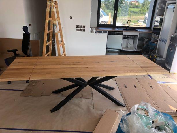 Stół dębowy rozkładany z litego drewna loft/industrial nogi pająk