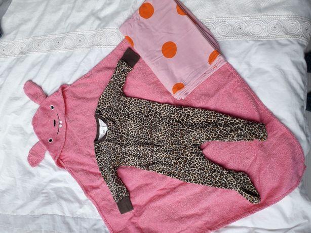 Zestaw dla dziewczynki śpiochy kocyk i ręcznik H&M r.68