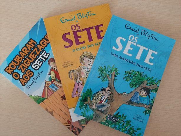 """3 livros """"Os sete"""""""