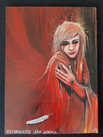 Obraz olejny ręcznie malowany na płótnie 50× 36 cm.