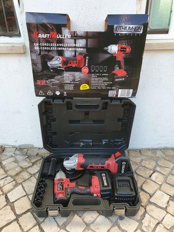 Kit de rebarbadora e máquina de impacto com 2 baterias