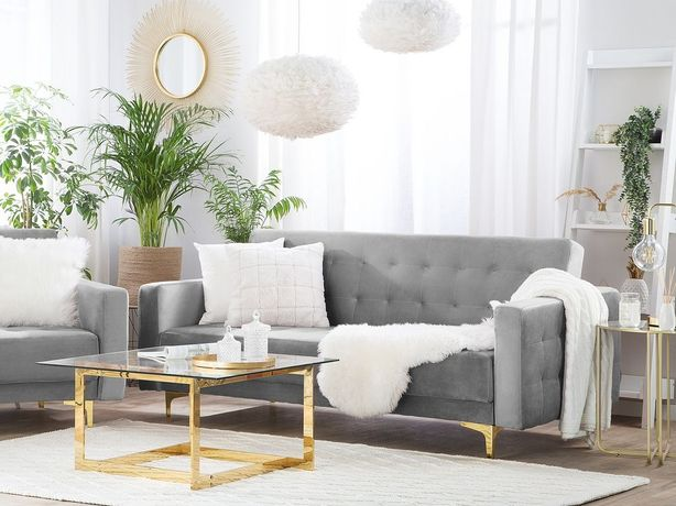 Sofá reclinável de 3 lugares em veludo cinzento claro ABERDEEN - Beliani