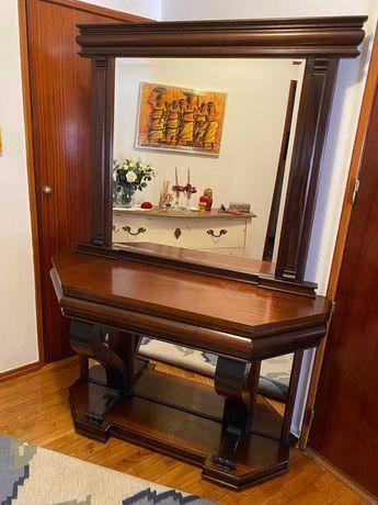 Consola em madeira maciça e espelho