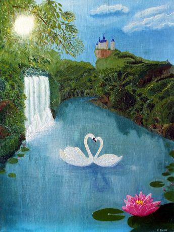 """Картина маслом 60х80см """" Вечная любовь"""". Холст конопля"""