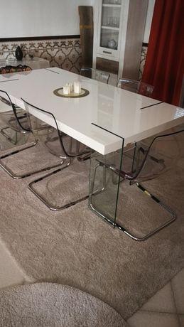 Mesa de Jantar Elegante - branca com pés em vidro (Max. 10 pessoas)