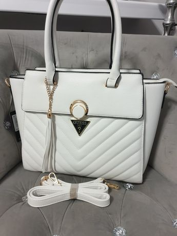Torba damska a4 shoperbag biała torebka guess torba na ramię