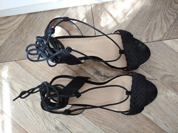 Sandały plecione buty koturn VICES styl Boho czarne rozm. 36