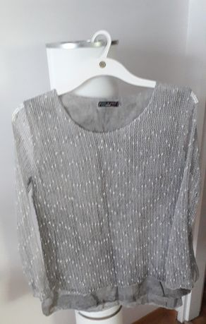 Bluzka bluzeczka szara siateczka