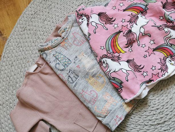 Bluza sweter Zara next 98 jednorożce pudrowy róż