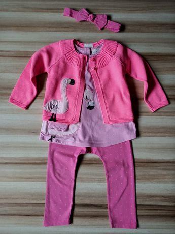 *NEXT*różowy zestaw: sweterek+bluzeczka+legginsy+opaska r.18-24m/92 cm