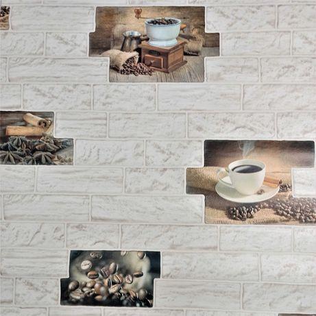 Tapeta ścienna do kuchni kawa młynek cegła beżowa