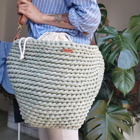 Torba koszyk z makramy duża