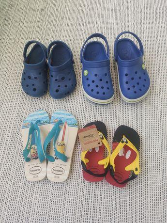 Crocs e havaianas criança