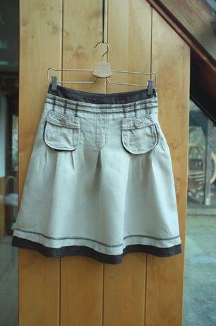 lniana spódnica Promod 100% Len na lato zakładki beżowa letnia plisy