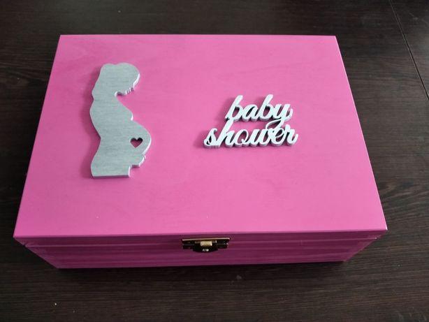 Baby shower prezent dla przyszłej mamy narodziny różowe pamiątka