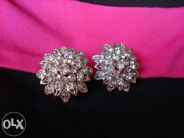 Kolczyki Crystal Kryształki Kwiaty