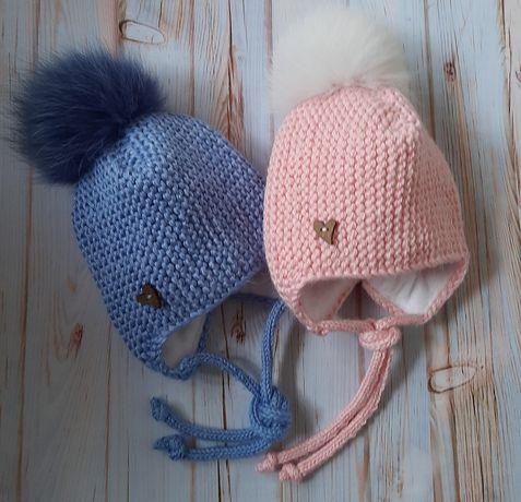 Детская тёплая шапочка с ушками